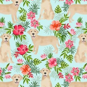yellow labrador hawaiian fabric - hawaiian floral fabric, dog fabric, labrador fabric, yellow lab fabric - mint