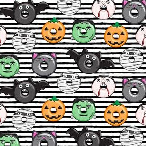 "(1"" scale) halloween donut medley - cute halloween - black stripes - monsters pumpkin frankenstein black cat Dracula C18BS"