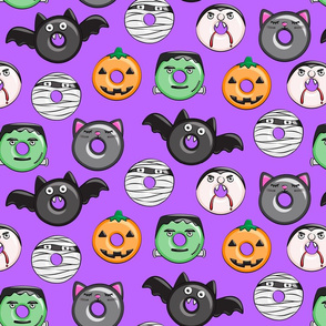 (large scale) halloween donut medley - purple - LAD19