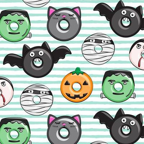halloween donut medley - cute halloween - aqua stripes - monsters pumpkin frankenstein black cat Dracula C19BS