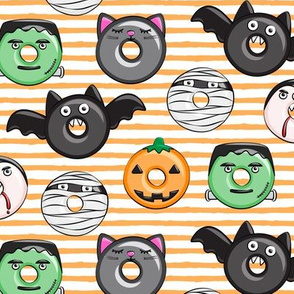 halloween donut medley - cute halloween - orange stripes - monsters pumpkin frankenstein black cat Dracula C19BS