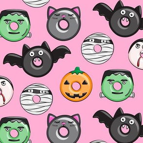 halloween donut medley - pink - monsters pumpkin frankenstein black cat Dracula C19BS