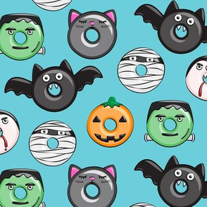 halloween donut medley - blue - monsters pumpkin frankenstein black cat Dracula C19BS