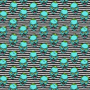 (small scale) zombies - teal on black stripes - halloween  C19BS
