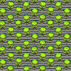 (small scale) zombies - green on black stripes - halloween C19BS