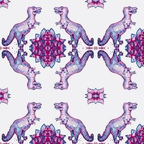 Pink and navy Dinosaur trellis