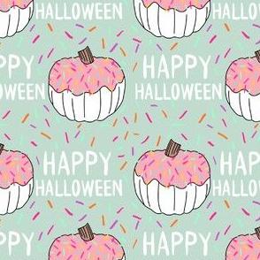 Donut pumpkin fabric - sprinkles pumpkin, cute pumpkin fabric, cute pumpkin fabric, - mint