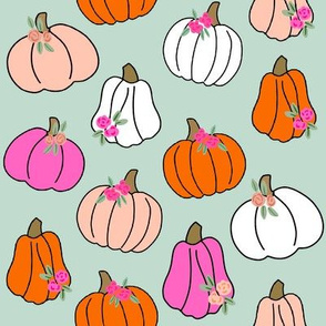 Pumpkin floral fabric - girls Halloween, pumpkin flowers, floral halloween, fall, autumn, cute pumpkin fabric - mint