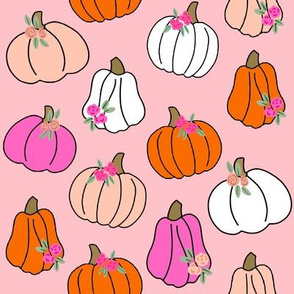 Pumpkin floral fabric - girls Halloween, pumpkin flowers, floral halloween, fall, autumn, cute pumpkin fabric - pink