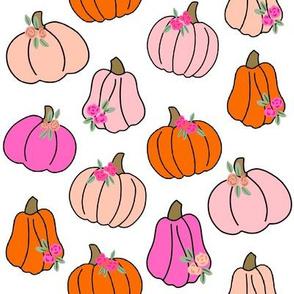 Pumpkin floral fabric - girls Halloween, pumpkin flowers, floral halloween, fall, autumn, cute pumpkin fabric - white And pink