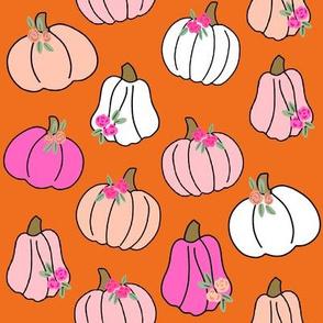 Pumpkin floral fabric - girls Halloween, pumpkin flowers, floral halloween, fall, autumn, cute pumpkin fabric - orange