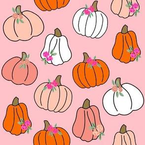 Pumpkin floral fabric - girls Halloween, pumpkin flowers, floral halloween, fall, autumn, cute pumpkin fabric - white