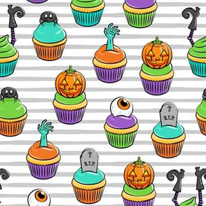 Halloween Cupcakes - fun halloween treats - witch, eyeball, zombie, spider - grey stripes - LAD19