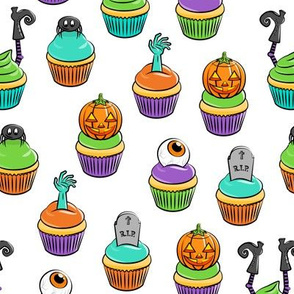Halloween Cupcakes - fun halloween treats - witch, eyeball, zombie, spider - white - LAD19