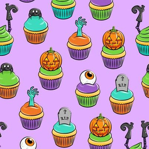 Halloween Cupcakes - fun halloween treats - witch, eyeball, zombie, spider - purple - LAD19