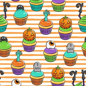 Halloween Cupcakes - fun halloween treats - witch, eyeball, zombie, spider - orange stripes - LAD19