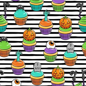 Halloween Cupcakes - fun halloween treats - witch, eyeball, zombie, spider - black stripes - LAD19