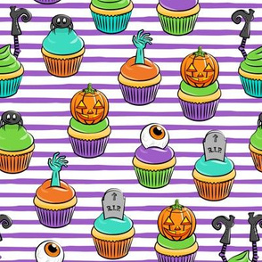 Halloween Cupcakes - fun halloween treats - witch, eyeball, zombie, spider - purple stripes - LAD19