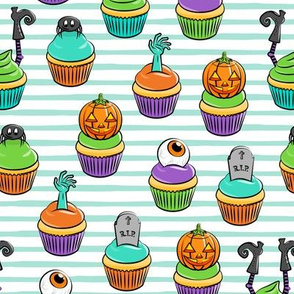 Halloween Cupcakes - fun halloween treats - witch, eyeball, zombie, spider - aqua stripes - LAD19