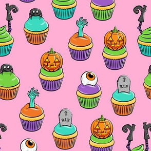 Halloween Cupcakes - fun halloween treats - witch, eyeball, zombie, spider - pink - LAD19
