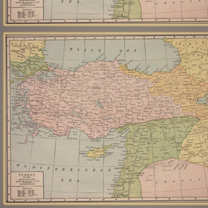 Turkey map, vintage, FQ, small, colorful