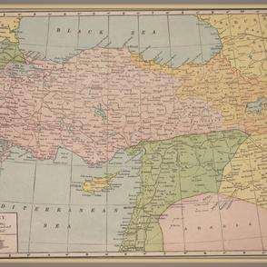 Large vintage map of Turkey, colorful