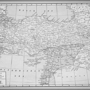 Vintage Turkey map, black and white, large