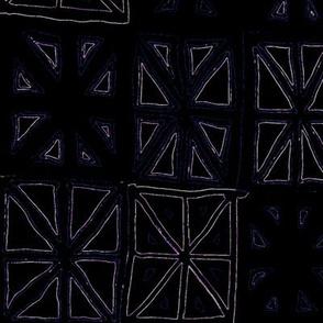MINIMALIST CHEATER QUILT BLUE MAGENTA WHITE ON BLACK -BASIC