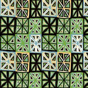 MINIMALIST CHEATER QUILT WEATHERED BLUE CARAMEL WHITE GREEN RED BLACK-BASIC