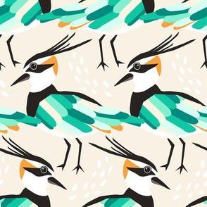 Lapwing Bird - cream and green
