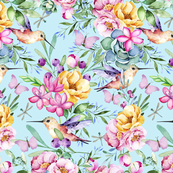 Tropical Hummingbird And Flower Pattern