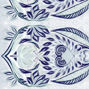 Boho Border Print in Navy and Grey Blue for skirts