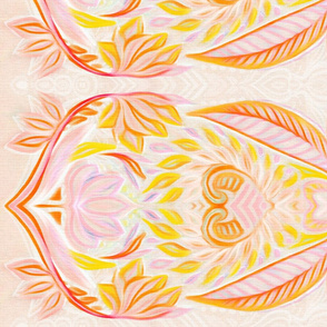 Boho Border Print in Orange, Peach & Pink for skirts
