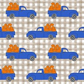 blue pumpkin truck,  little blue truck fabric, pumpkin fabric, fall fabric, farm fabric, boy fabric, girls fabric, trucks fabric - blue with checks