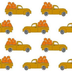 blue pumpkin truck,  little blue truck fabric, pumpkin fabric, fall fabric, farm fabric, boy fabric, girls fabric, trucks fabric -  mustard