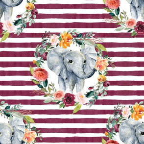 paprika floral elephant with maroon stripes