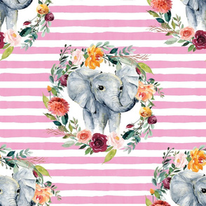 paprika floral elephant with pink stripes
