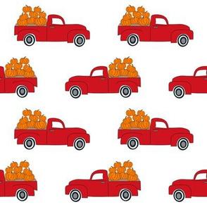 blue pumpkin truck,  little blue truck fabric, pumpkin fabric, fall fabric, farm fabric, boy fabric, girls fabric, trucks fabric -  red