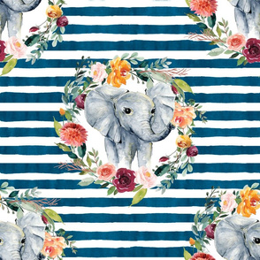 paprika floral elephant with blue stripes