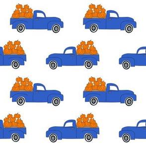 blue pumpkin truck,  little blue truck fabric, pumpkin fabric, fall fabric, farm fabric, boy fabric, girls fabric, trucks fabric -  white