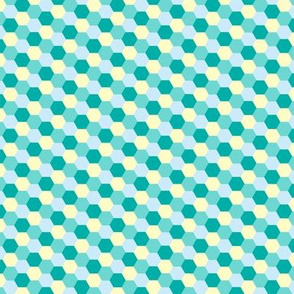 Hexagon Flowers L Teal
