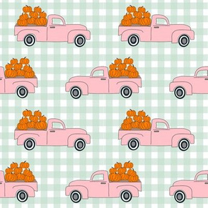 blue pumpkin truck,  little blue truck fabric, pumpkin fabric, fall fabric, farm fabric, boy fabric, girls fabric, trucks fabric -  pink and mint