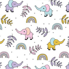 Little elephant rainbow jungle garden botanical leaves and flowers kawaii lilac pink yellow girls