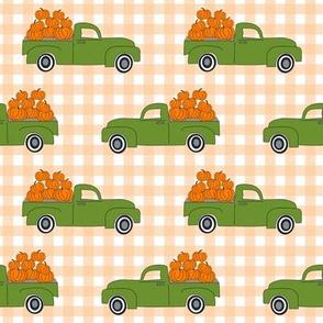 blue pumpkin truck,  little blue truck fabric, pumpkin fabric, fall fabric, farm fabric, boy fabric, girls fabric, trucks fabric -  green