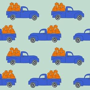 blue pumpkin truck,  little blue truck fabric, pumpkin fabric, fall fabric, farm fabric, boy fabric, girls fabric, trucks fabric - blue