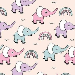Little elephant rainbow good night sleep tight kawaii soft baby nursery illustration girls summer