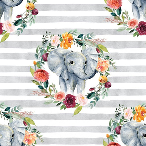 paprika floral elephant wreath on gray stripes