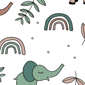 Little elephant rainbow jungle garden botanical leaves and flowers kawaii green neutral sand beige JUMBO