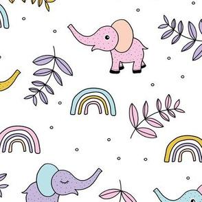 Little elephant rainbow jungle garden botanical leaves and flowers kawaii lilac pink yellow girls JUMBO