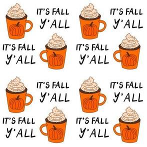pumpkin spice  it's fall y'all  - pumpkin spice fabric, latte fabric, trendy girls fabric, fall autumn fabric, -white